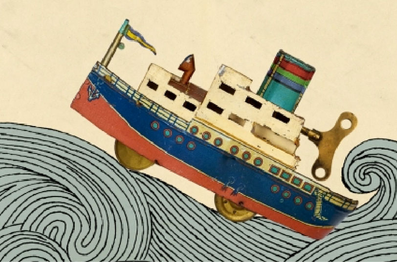 Ilustración de un barco de juguete en el mar