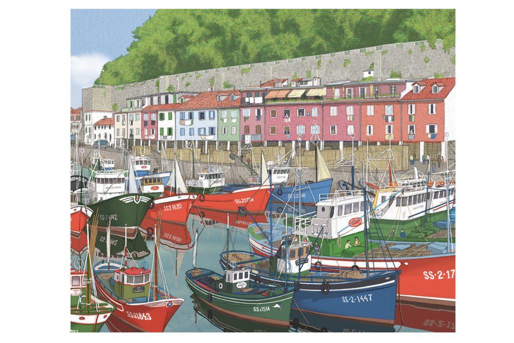 En la portada se ven ilustrados una docena de barcos pesqueros atracados en el Muelle de Donostia.
